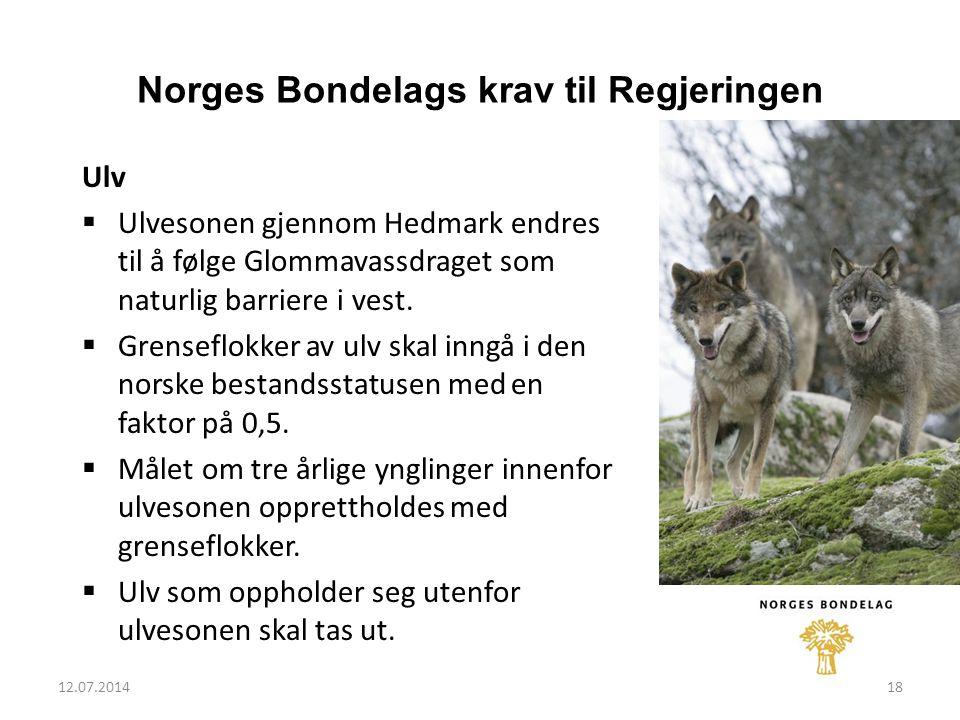12.07.201418 Norges Bondelags krav til Regjeringen Ulv  Ulvesonen gjennom Hedmark endres til å følge Glommavassdraget som naturlig barriere i vest.