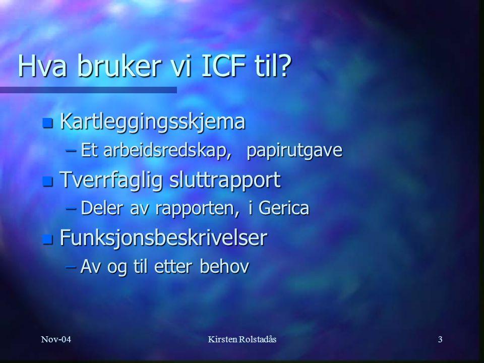 Nov-04Kirsten Rolstadås3 Hva bruker vi ICF til.