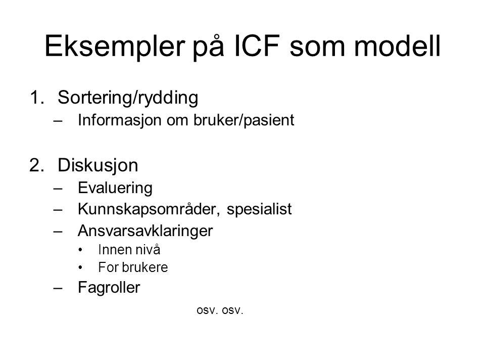 Eksempler på ICF som modell 1.Sortering/rydding –Informasjon om bruker/pasient 2.Diskusjon –Evaluering –Kunnskapsområder, spesialist –Ansvarsavklaringer Innen nivå For brukere –Fagroller osv.