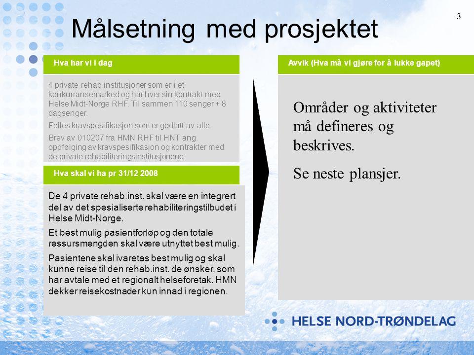 3 4 private rehab.institusjoner som er i et konkurransemarked og har hver sin kontrakt med Helse Midt-Norge RHF. Til sammen 110 senger + 8 dagsenger.