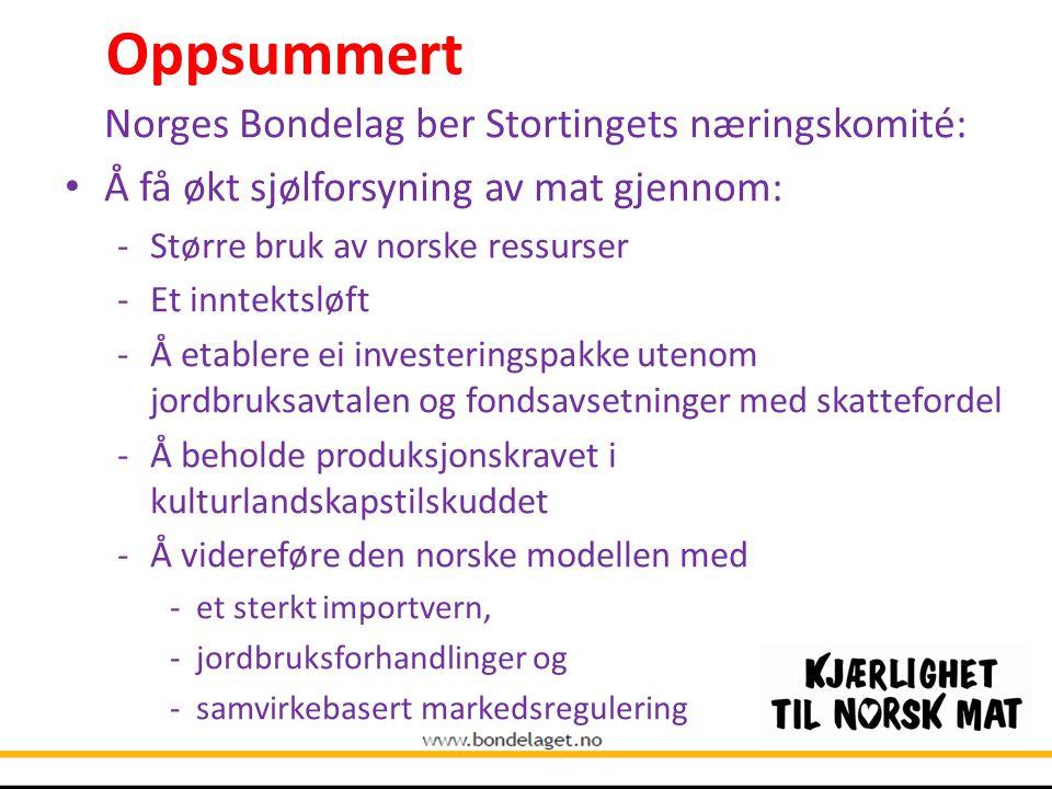Oppsummert Norges Bondelag ber Stortingets næringskomité: Å få økt sjølforsyning av mat gjennom: -Større bruk av norske ressurser -Et inntektsløft -Å