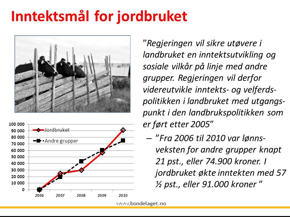 Gode inntektsmuligheter viktigste virkemiddelet for å nå landbrukspolitiske mål.