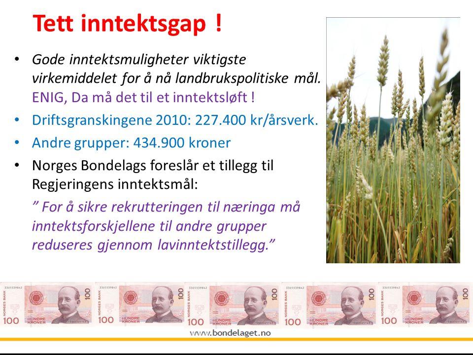 Gode inntektsmuligheter viktigste virkemiddelet for å nå landbrukspolitiske mål. ENIG, Da må det til et inntektsløft ! Driftsgranskingene 2010: 227.40