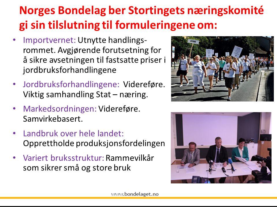 Norges Bondelag ber Stortingets næringskomité gi sin tilslutning til formuleringene om: Importvernet: Utnytte handlings- rommet. Avgjørende forutsetni