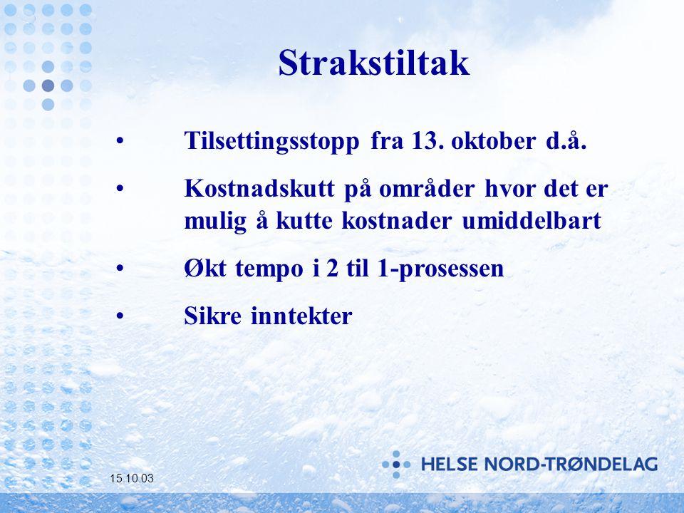 15.10.03 Strakstiltak Tilsettingsstopp fra 13. oktober d.å.