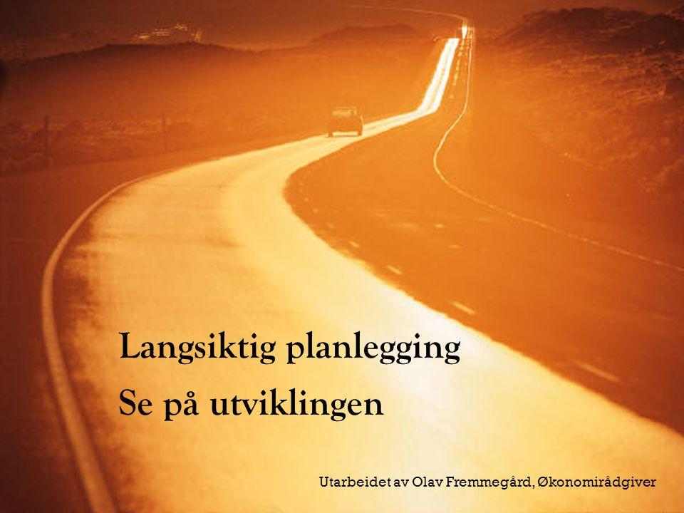 Langsiktig planlegging Se på utviklingen Utarbeidet av Olav Fremmegård, Økonomirådgiver