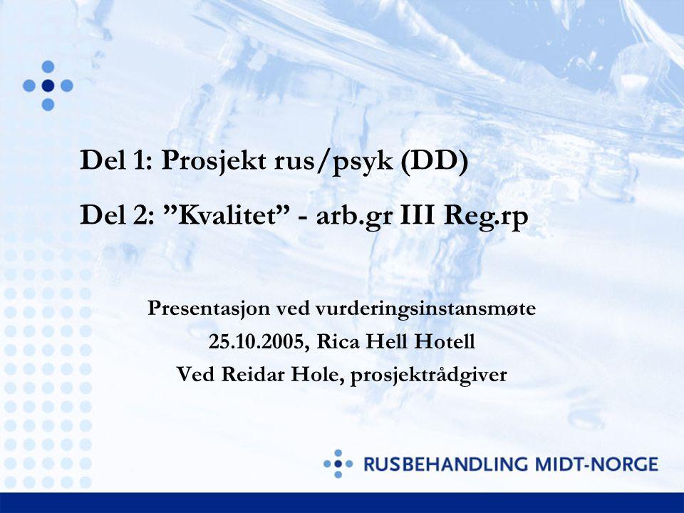 """Presentasjon ved vurderingsinstansmøte 25.10.2005, Rica Hell Hotell Ved Reidar Hole, prosjektrådgiver Del 1: Prosjekt rus/psyk (DD) Del 2: """"Kvalitet"""""""