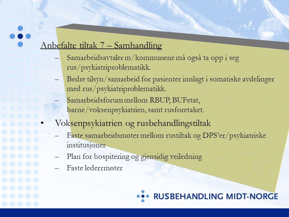 Anbefalte tiltak 7 – Samhandling –Samarbeidsavtaler m/kommunene må også ta opp i seg rus/psykiatriproblematikk. –Bedre tilsyn/samarbeid for pasienter