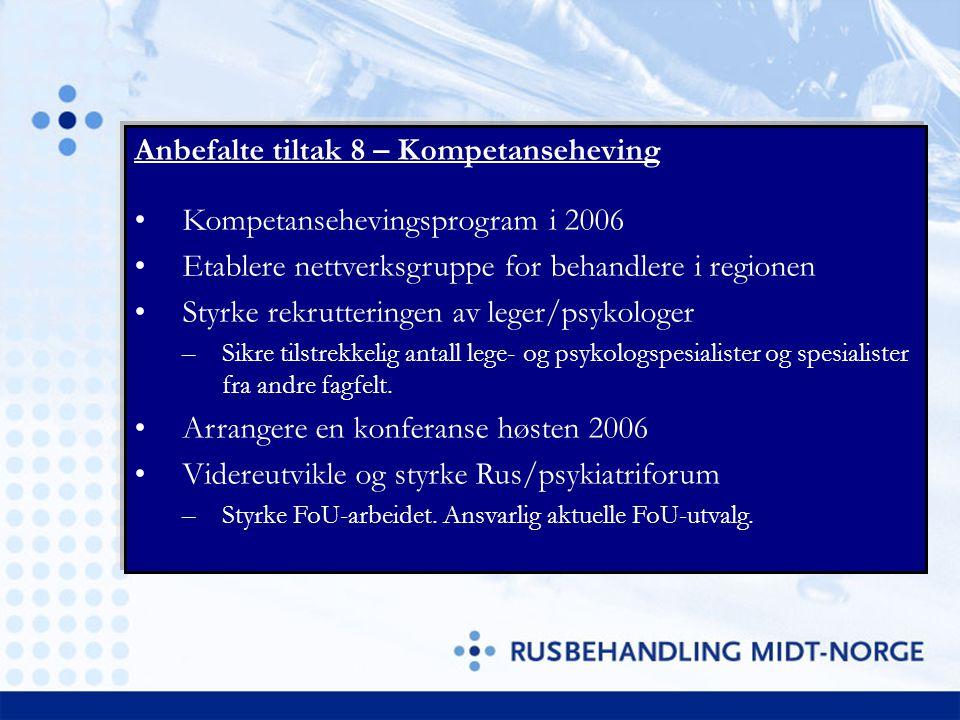 Anbefalte tiltak 8 – Kompetanseheving Kompetansehevingsprogram i 2006 Etablere nettverksgruppe for behandlere i regionen Styrke rekrutteringen av lege