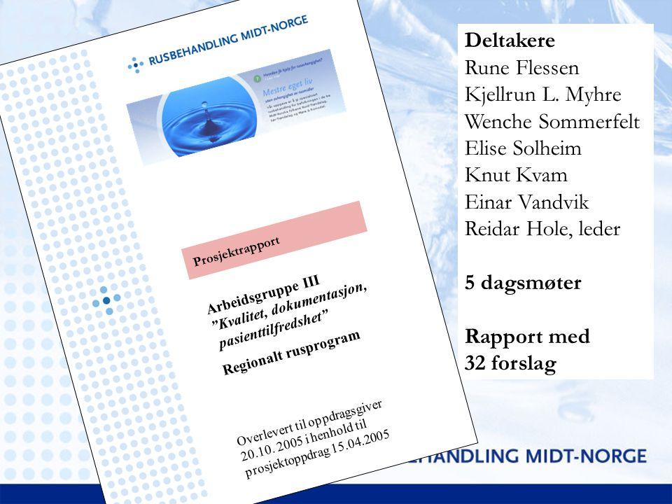 Deltakere Rune Flessen Kjellrun L. Myhre Wenche Sommerfelt Elise Solheim Knut Kvam Einar Vandvik Reidar Hole, leder 5 dagsmøter Rapport med 32 forslag
