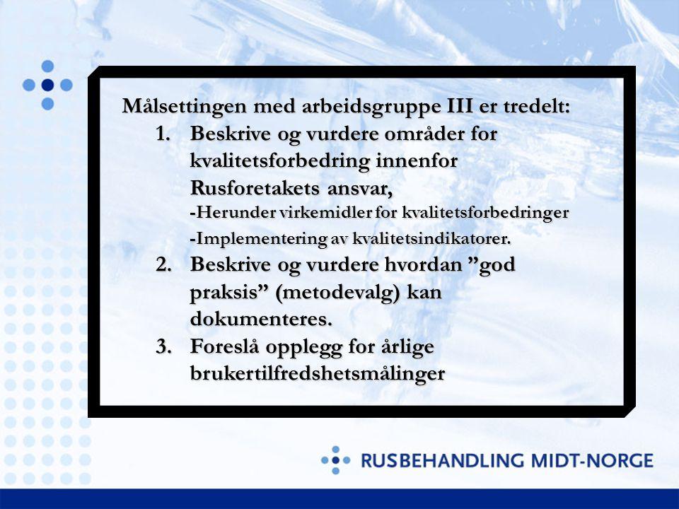 Målsettingen med arbeidsgruppe III er tredelt: 1.Beskrive og vurdere områder for kvalitetsforbedring innenfor Rusforetakets ansvar, -Herunder virkemid