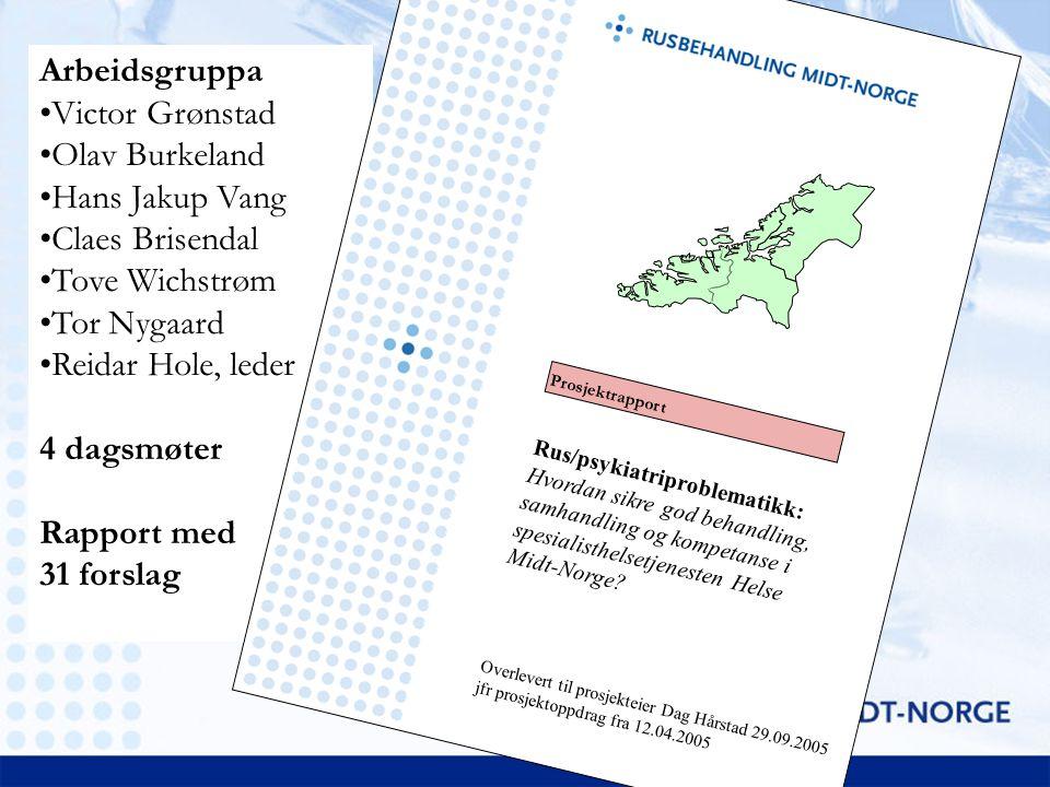 Anbefalte tiltak 8 – Kompetanseheving Kompetansehevingsprogram i 2006 Etablere nettverksgruppe for behandlere i regionen Styrke rekrutteringen av leger/psykologer –Sikre tilstrekkelig antall lege- og psykologspesialister og spesialister fra andre fagfelt.