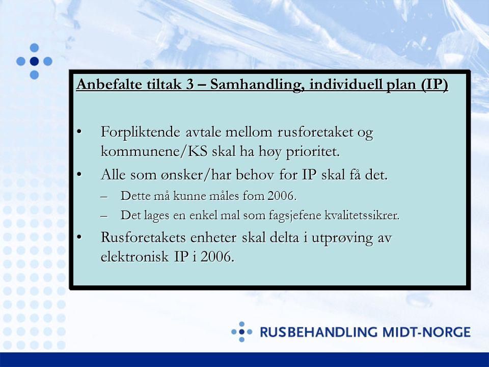 Anbefalte tiltak 3 – Samhandling, individuell plan (IP) Forpliktende avtale mellom rusforetaket og kommunene/KS skal ha høy prioritet.Forpliktende avt