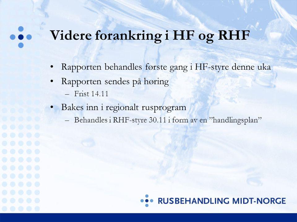 Videre forankring i HF og RHF Rapporten behandles første gang i HF-styre denne uka Rapporten sendes på høring –Frist 14.11 Bakes inn i regionalt ruspr