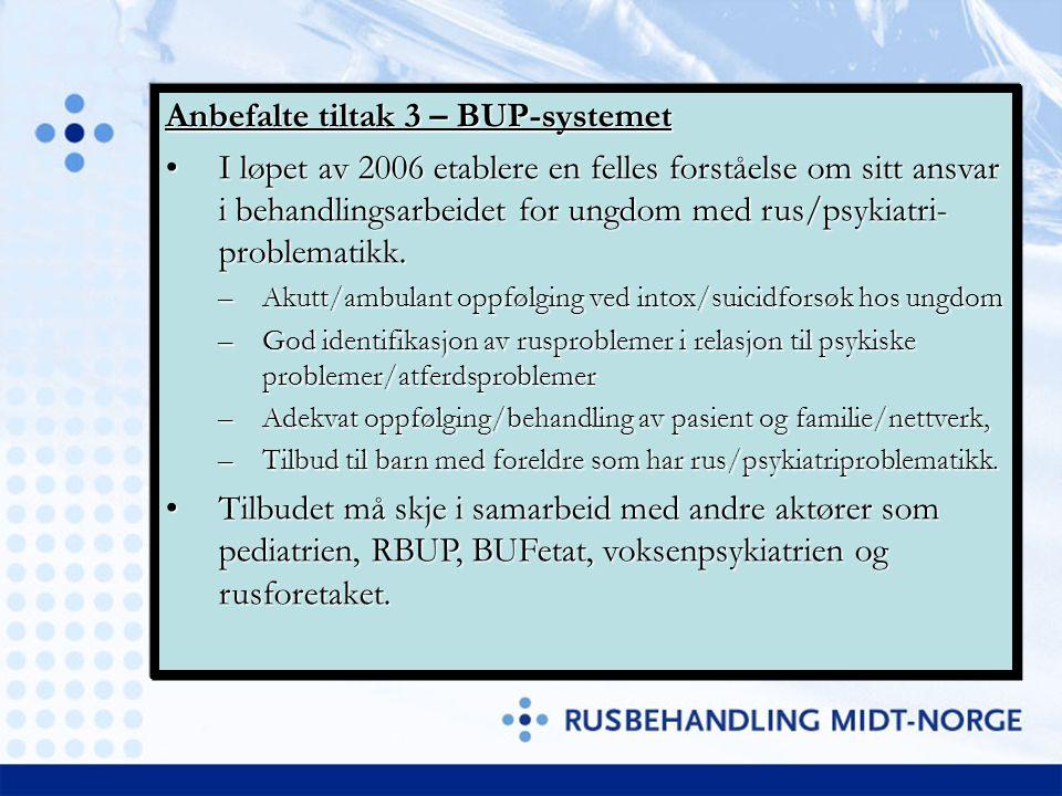 Anbefalte tiltak 3 – BUP-systemet I løpet av 2006 etablere en felles forståelse om sitt ansvar i behandlingsarbeidet for ungdom med rus/psykiatri- pro