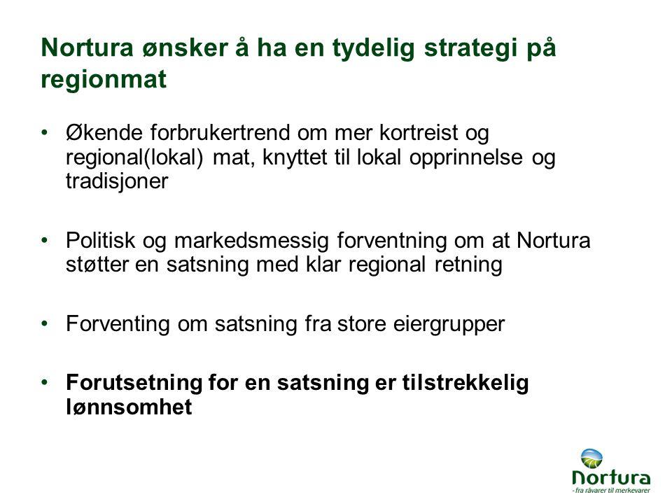 Nortura ønsker å ha en tydelig strategi på regionmat Økende forbrukertrend om mer kortreist og regional(lokal) mat, knyttet til lokal opprinnelse og t