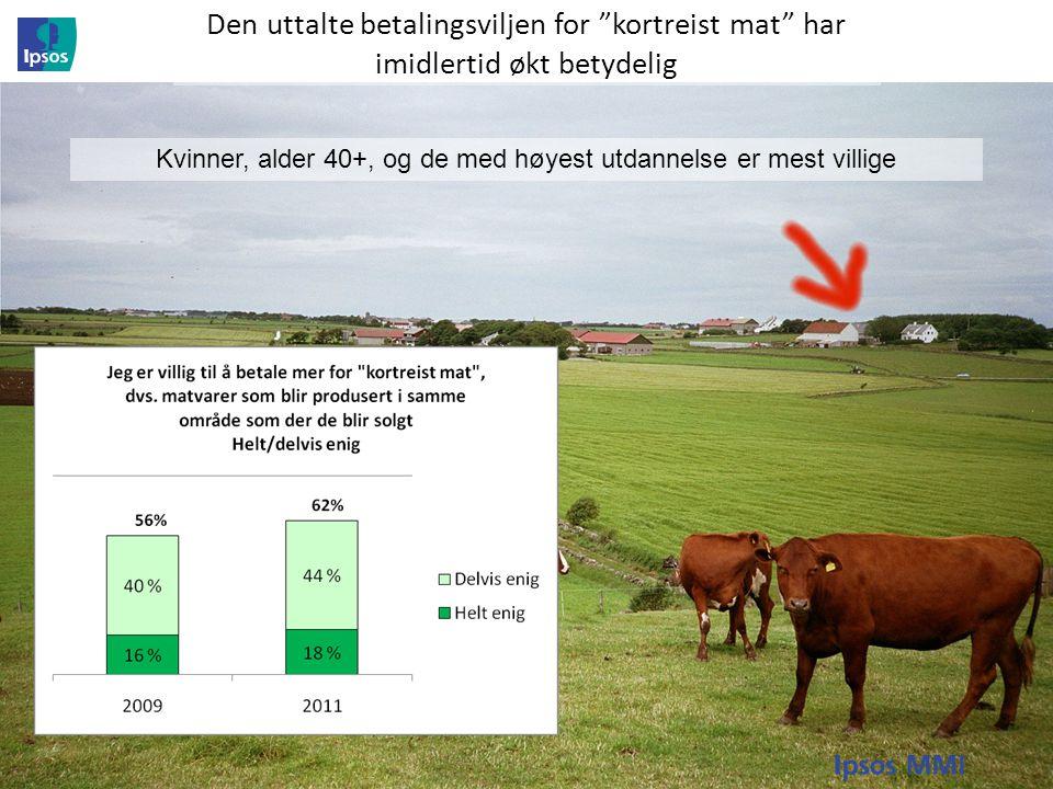 Etter langvarig nedgang ser betydningen av norsk opprinnelse på landbruksprodukter ut til å øke igjen Samtidig økte andelen som er helt/delvis enig i påstanden Utenlandsk mat er minst like trygg å spise som norsk mat Fra 66% i 2009 til 70% i 2011 Andelen som er helt enig i påstanden: Jeg foretrekker kjøttvarer som er merket med at de er produsert i Norge økte fra 34% i 2009 til 37% i 2011