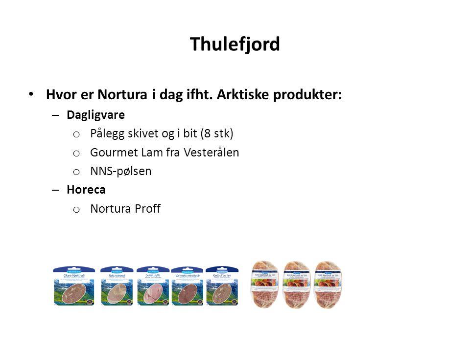 Thulefjord Hvor er Nortura i dag ifht. Arktiske produkter: – Dagligvare o Pålegg skivet og i bit (8 stk) o Gourmet Lam fra Vesterålen o NNS-pølsen – H