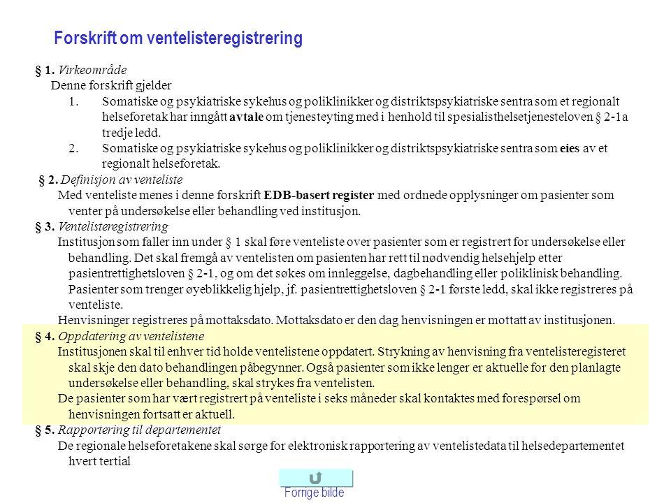 Forskrift om ventelisteregistrering Forrige bilde § 1. Virkeområde Denne forskrift gjelder 1.Somatiske og psykiatriske sykehus og poliklinikker og dis