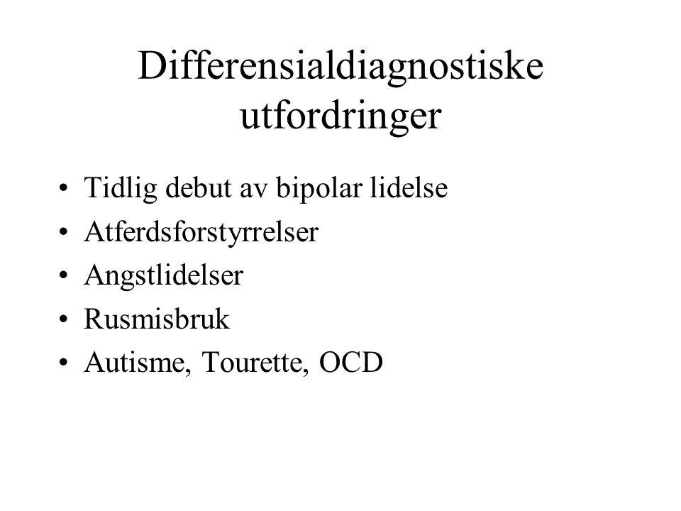 Differensialdiagnostiske utfordringer Tidlig debut av bipolar lidelse Atferdsforstyrrelser Angstlidelser Rusmisbruk Autisme, Tourette, OCD