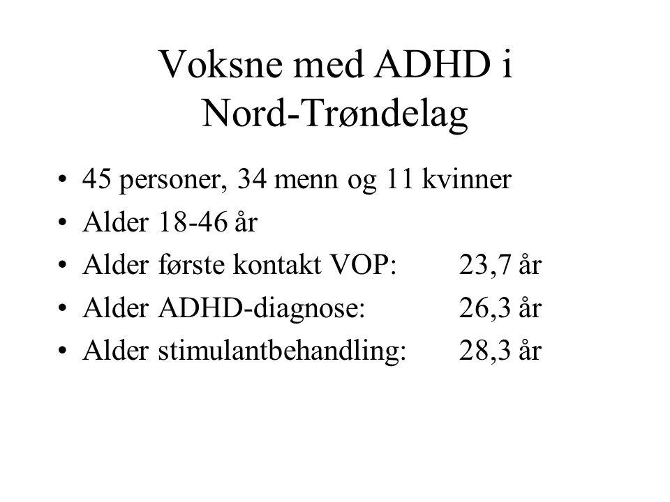 Voksne med ADHD i Nord-Trøndelag 45 personer, 34 menn og 11 kvinner Alder 18-46 år Alder første kontakt VOP: 23,7 år Alder ADHD-diagnose: 26,3 år Alder stimulantbehandling: 28,3 år