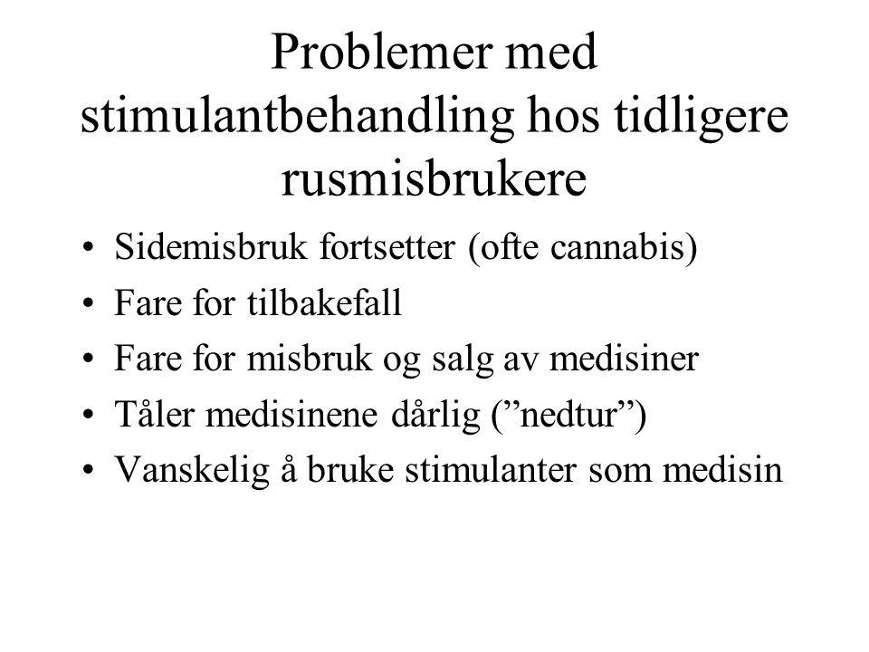 Problemer med stimulantbehandling hos tidligere rusmisbrukere Sidemisbruk fortsetter (ofte cannabis) Fare for tilbakefall Fare for misbruk og salg av medisiner Tåler medisinene dårlig ( nedtur ) Vanskelig å bruke stimulanter som medisin