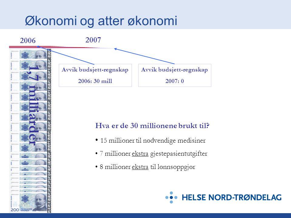 Økonomi og atter økonomi 1,7 milliarder Avvik budsjett-regnskap 2006: 30 mill Avvik budsjett-regnskap 2007: 0 2006 2007 Hva er de 30 millionene brukt til.