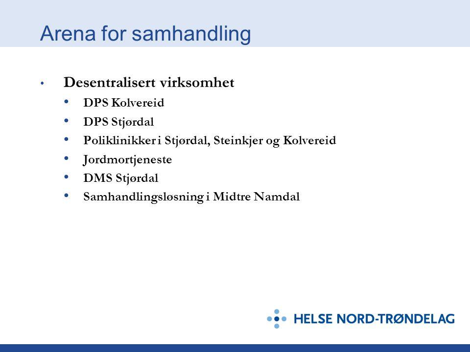Arena for samhandling Desentralisert virksomhet DPS Kolvereid DPS Stjørdal Poliklinikker i Stjørdal, Steinkjer og Kolvereid Jordmortjeneste DMS Stjørdal Samhandlingsløsning i Midtre Namdal
