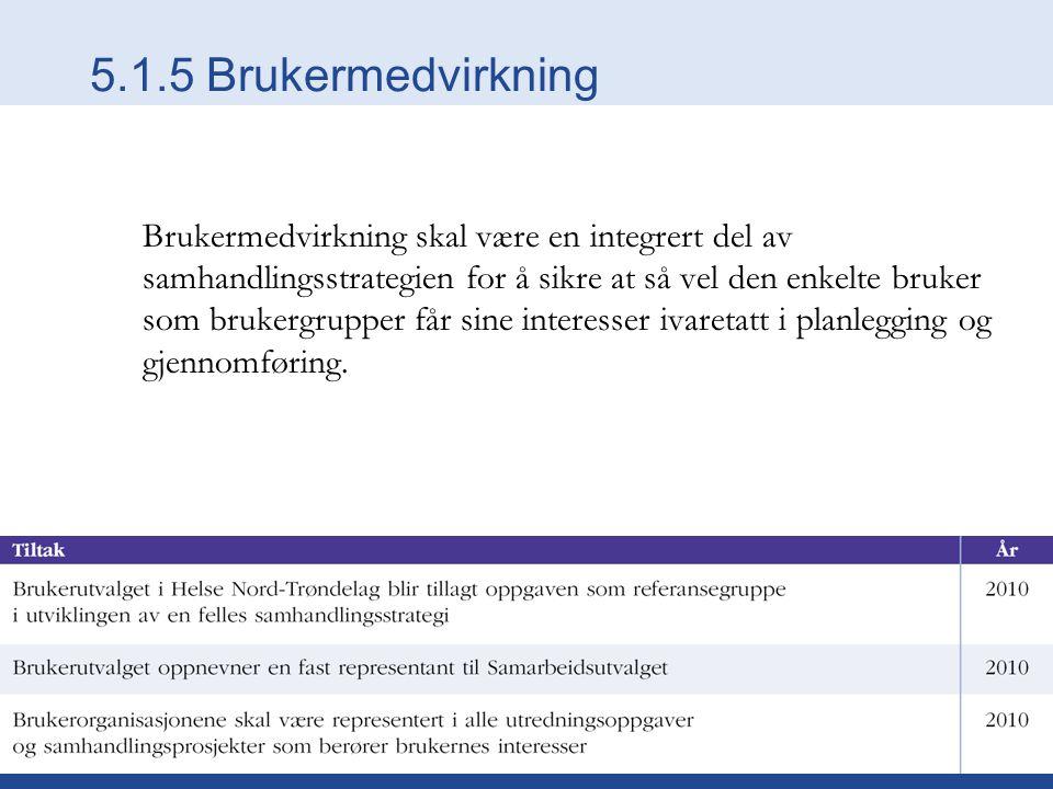 5.1.5 Brukermedvirkning Brukermedvirkning skal være en integrert del av samhandlingsstrategien for å sikre at så vel den enkelte bruker som brukergrup