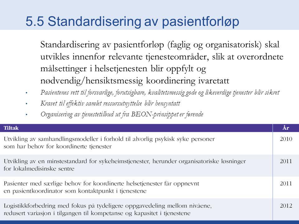 5.5 Standardisering av pasientforløp Standardisering av pasientforløp (faglig og organisatorisk) skal utvikles innenfor relevante tjenesteområder, slik at overordnete målsettinger i helsetjenesten blir oppfylt og nødvendig/hensiktsmessig koordinering ivaretatt Pasientenes rett til forsvarlige, forutsigbare, kvalitetsmessig gode og likeverdige tjenester blir sikret Kravet til effektiv samlet ressursutnyttelse blir hensyntatt Organisering av tjenestetilbud ut fra BEON-prinsippet er førende
