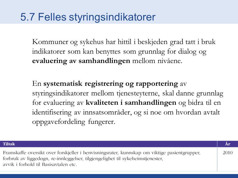 5.7 Felles styringsindikatorer Kommuner og sykehus har hittil i beskjeden grad tatt i bruk indikatorer som kan benyttes som grunnlag for dialog og evaluering av samhandlingen mellom nivåene.