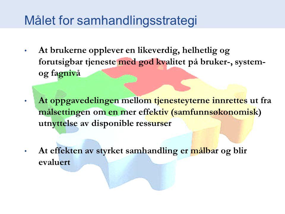 Målet for samhandlingsstrategi At brukerne opplever en likeverdig, helhetlig og forutsigbar tjeneste med god kvalitet på bruker-, system- og fagnivå A