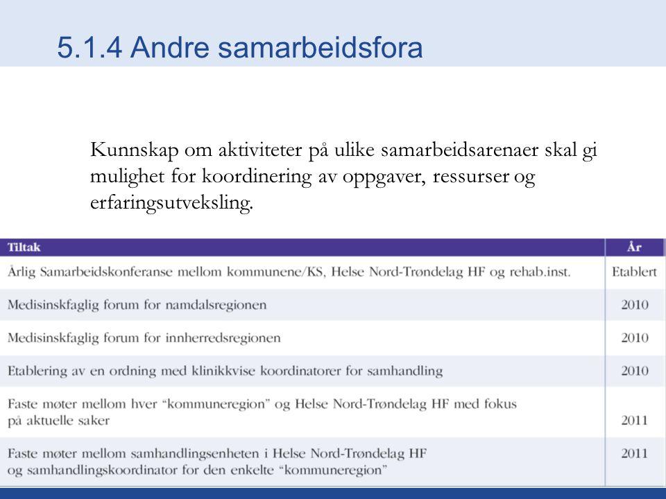 5.1.4 Andre samarbeidsfora Kunnskap om aktiviteter på ulike samarbeidsarenaer skal gi mulighet for koordinering av oppgaver, ressurser og erfaringsutv