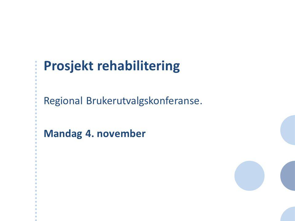 Prosjekt rehabilitering Regional Brukerutvalgskonferanse. Mandag 4. november