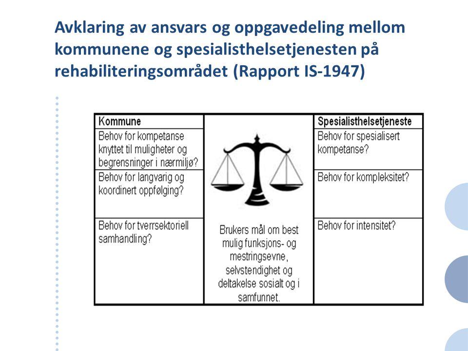 Avklaring av ansvars og oppgavedeling mellom kommunene og spesialisthelsetjenesten på rehabiliteringsområdet (Rapport IS-1947)