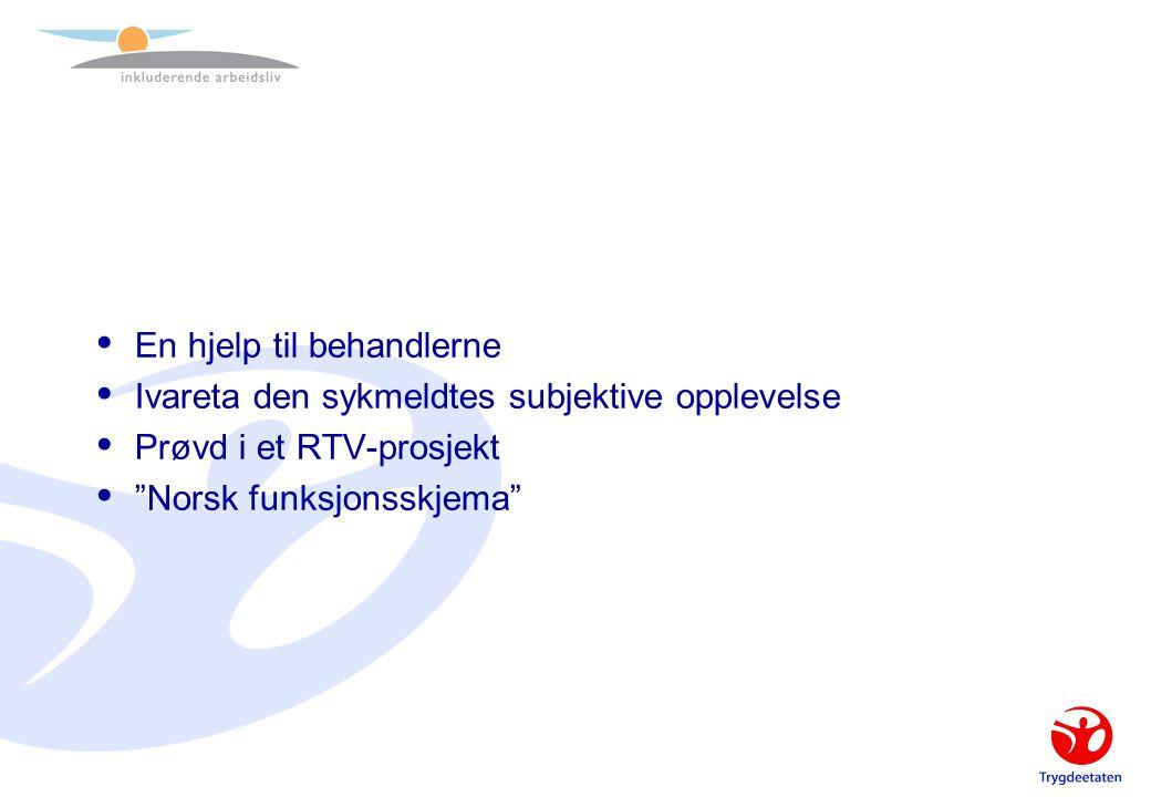 """ En hjelp til behandlerne  Ivareta den sykmeldtes subjektive opplevelse  Prøvd i et RTV-prosjekt  """"Norsk funksjonsskjema"""""""
