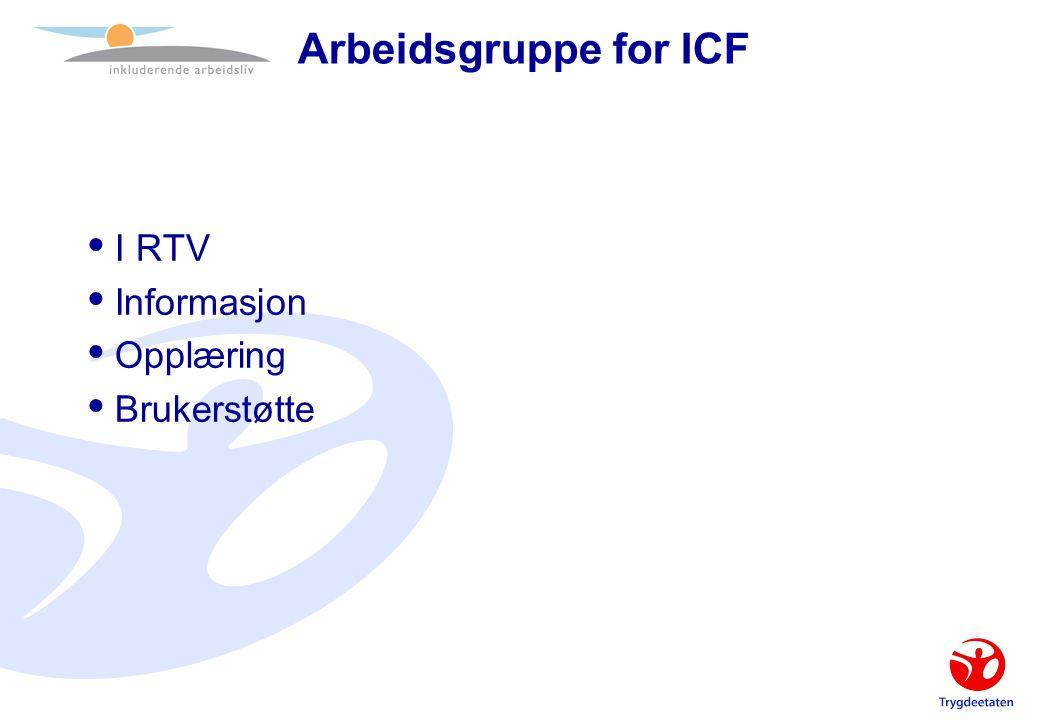 Arbeidsgruppe for ICF  I RTV  Informasjon  Opplæring  Brukerstøtte
