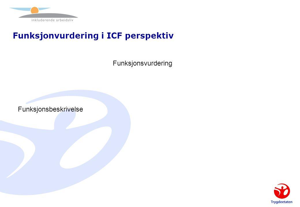 Funksjonvurdering i ICF perspektiv Funksjonsvurdering Funksjonsbeskrivelse Beskrivelse av jobbkrav/ arbeidssituasjon