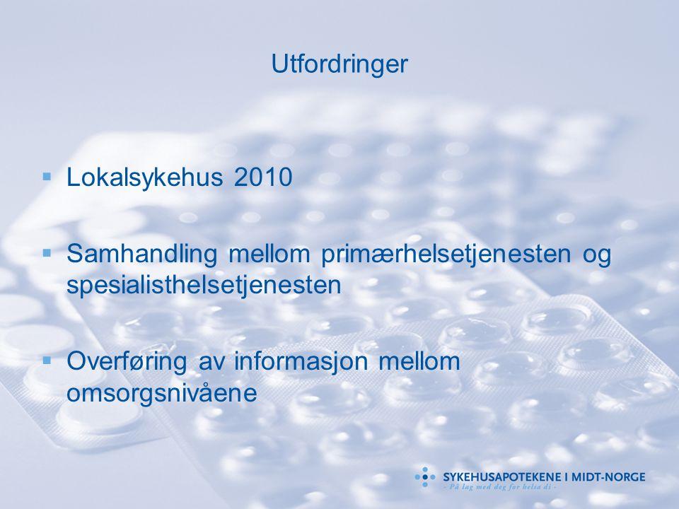 Utfordringer  Lokalsykehus 2010  Samhandling mellom primærhelsetjenesten og spesialisthelsetjenesten  Overføring av informasjon mellom omsorgsnivåe