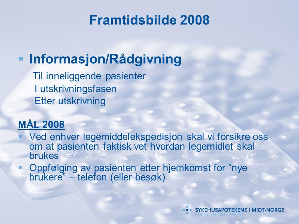 Framtidsbilde 2008  Informasjon/Rådgivning Til inneliggende pasienter I utskrivningsfasen Etter utskrivning MÅL 2008  Ved enhver legemiddelekspedisj