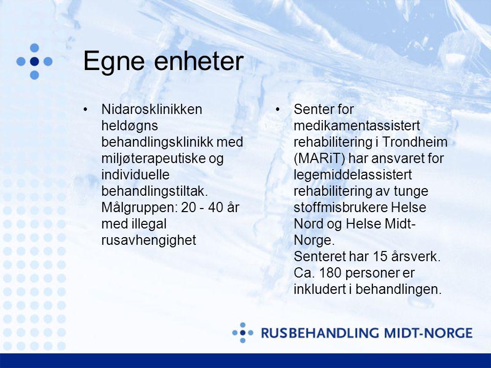 Egne enheter Senter for medikamentassistert rehabilitering i Trondheim (MARiT) har ansvaret for legemiddelassistert rehabilitering av tunge stoffmisbr