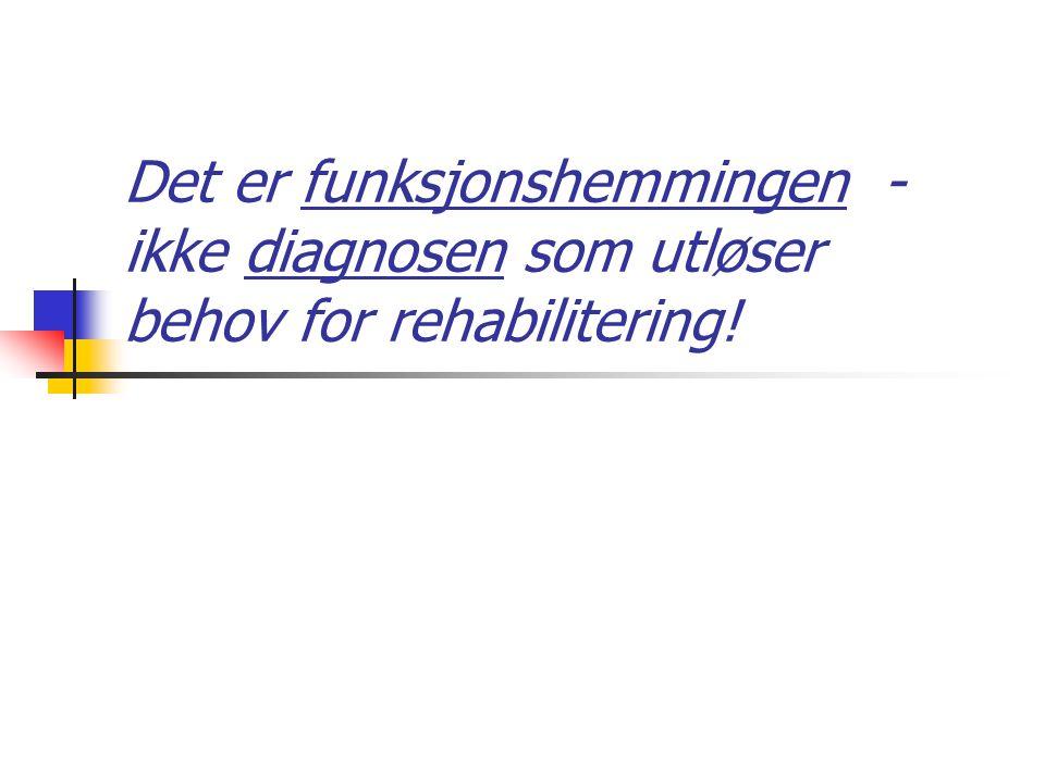 Det er funksjonshemmingen - ikke diagnosen som utløser behov for rehabilitering!
