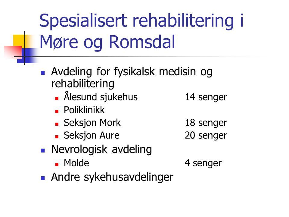 Spesialisert rehabilitering i Møre og Romsdal Avdeling for fysikalsk medisin og rehabilitering Ålesund sjukehus14 senger Poliklinikk Seksjon Mork18 se