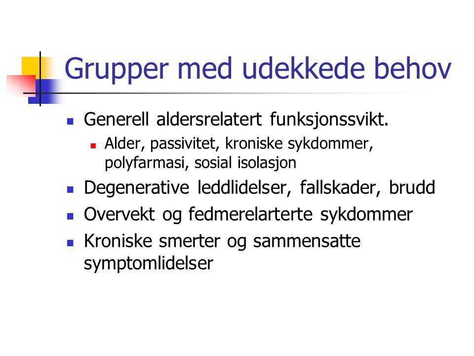 Grupper med udekkede behov Generell aldersrelatert funksjonssvikt. Alder, passivitet, kroniske sykdommer, polyfarmasi, sosial isolasjon Degenerative l