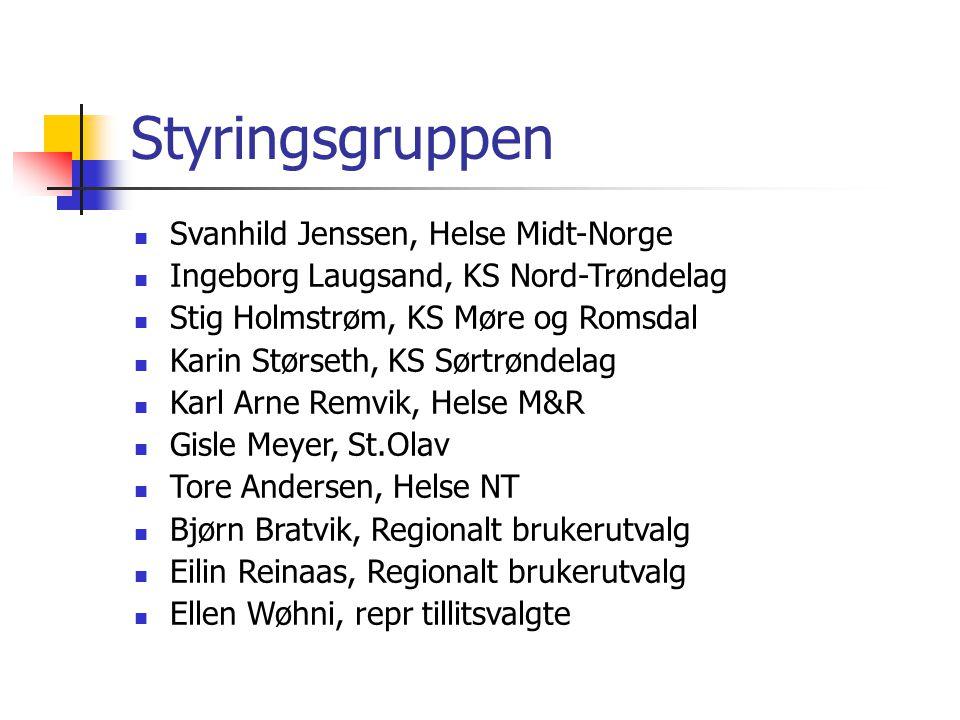 Styringsgruppen Svanhild Jenssen, Helse Midt-Norge Ingeborg Laugsand, KS Nord-Trøndelag Stig Holmstrøm, KS Møre og Romsdal Karin Størseth, KS Sørtrønd