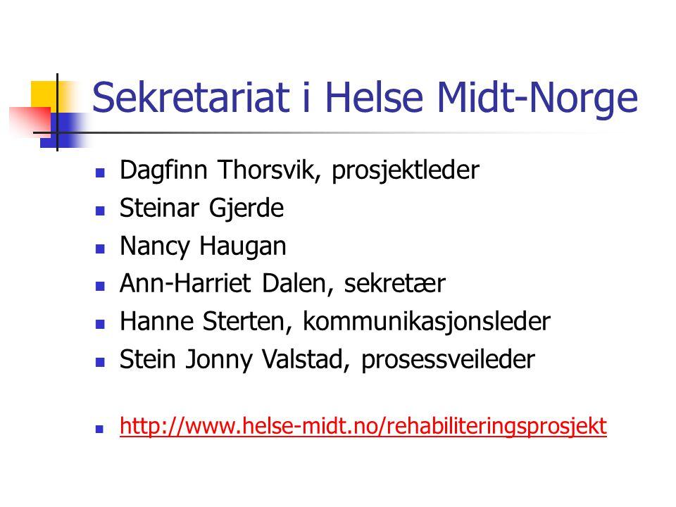 Sekretariat i Helse Midt-Norge Dagfinn Thorsvik, prosjektleder Steinar Gjerde Nancy Haugan Ann-Harriet Dalen, sekretær Hanne Sterten, kommunikasjonsle