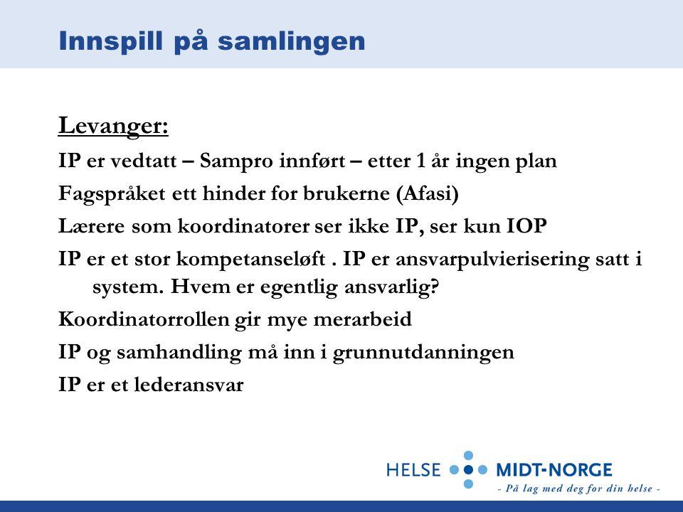Innspill på samlingen Levanger: IP er vedtatt – Sampro innført – etter 1 år ingen plan Fagspråket ett hinder for brukerne (Afasi) Lærere som koordinat