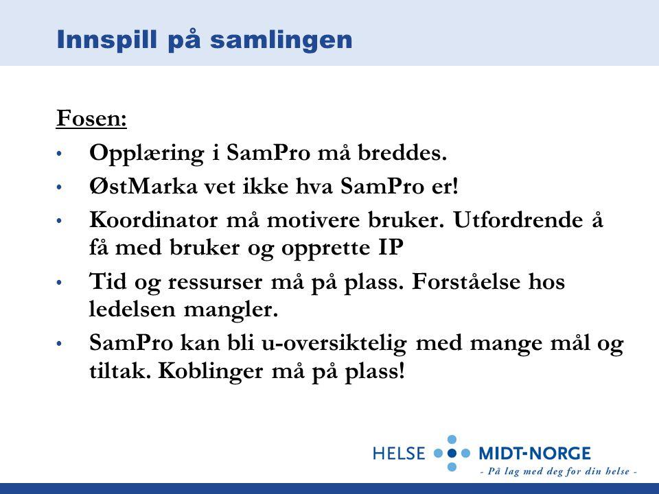 Innspill på samlingen Fosen: Opplæring i SamPro må breddes.