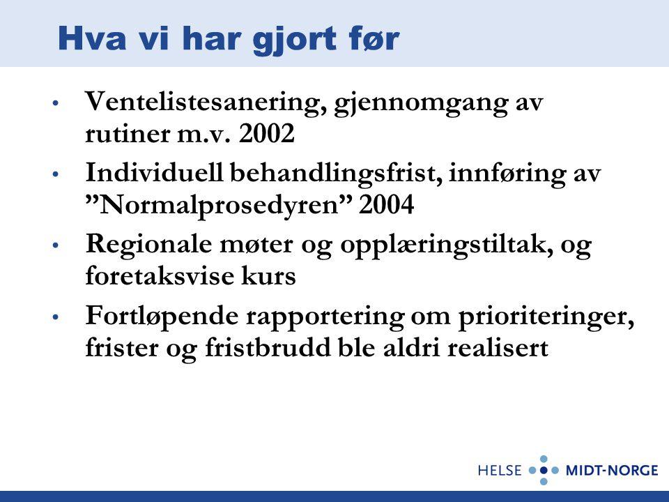 """Hva vi har gjort før Ventelistesanering, gjennomgang av rutiner m.v. 2002 Individuell behandlingsfrist, innføring av """"Normalprosedyren"""" 2004 Regionale"""
