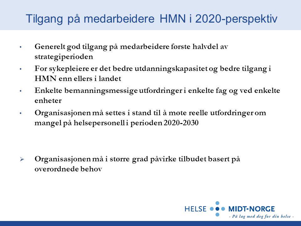 Tilgang på medarbeidere HMN i 2020-perspektiv Generelt god tilgang på medarbeidere første halvdel av strategiperioden For sykepleiere er det bedre utdanningskapasitet og bedre tilgang i HMN enn ellers i landet Enkelte bemanningsmessige utfordringer i enkelte fag og ved enkelte enheter Organisasjonen må settes i stand til å møte reelle utfordringer om mangel på helsepersonell i perioden 2020-2030  Organisasjonen må i større grad påvirke tilbudet basert på overordnede behov